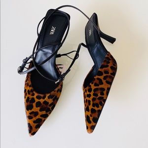 Zara Animal Print Ankle Strap Sandals SZ 8